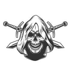 Vintage monochrome skull in hood vector