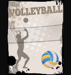Volleyball grungy poster background vector