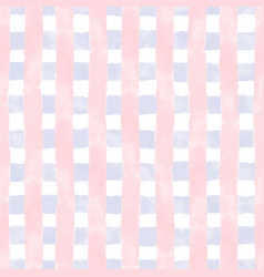 Watercolor grid blue and pink stripes vector