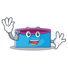 waving pencil case character cartoon vector image