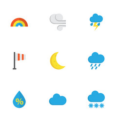 weather flat icons set collection of storm drop vector image