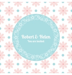 Wedding card template with floral frame vector image vector image
