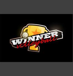Winner volleyball logo modern professional vector