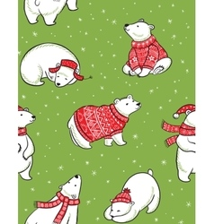 Winter seamless pattern with polar bears in hand vector