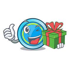With gift frisbee toys in the character shape vector