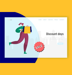 Woman running for discount shopping landing page vector