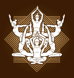 yoga class women training yoga vector image