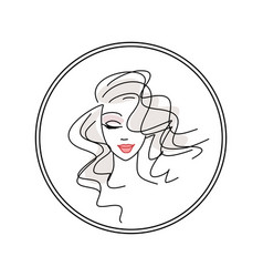 Young girl logo in a circle for a beauty salon vector