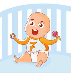 a child with toys rattles in a lullaby vector image