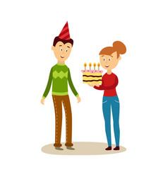 cartoon girl giving cake to man vector image