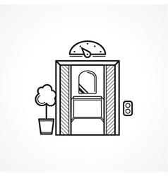 Opened elevator door black line icon vector image vector image