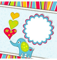 scrapbook elephant card template vector image