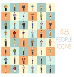 Set of 48 people flat icons vector image