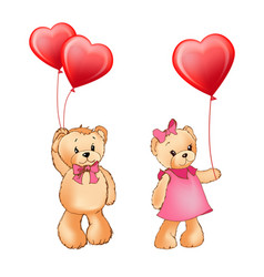 teddy bear couple and balloons vector image