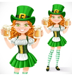Beautiful girl leprechaun hold a two goblets of vector image vector image