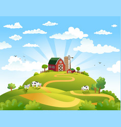 beautiful landscape with vector image