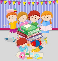 Boys and girls reading books in class vector image vector image