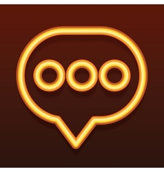 Glowing golden icon Speech bubble vector image