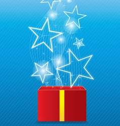Glowing star floating from giftbox vector image