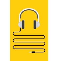 Headphones with cord and plug vector image vector image