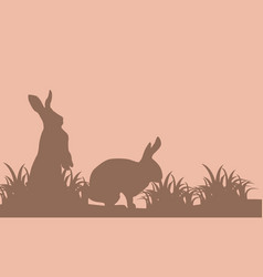 silhouette of easter bunny on brown backgrounds vector image vector image