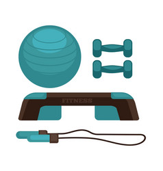 blue colored fitness equipment vector image vector image