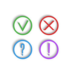 check marks 3d icons green checkmark red cross vector image