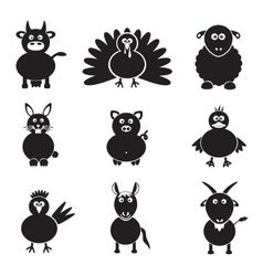 farm animals simple icons set eps10 vector image vector image