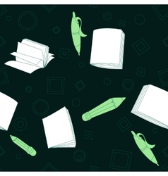 School notes seamless pattern on dark green vector image