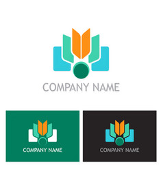 Shape book education technology logo vector
