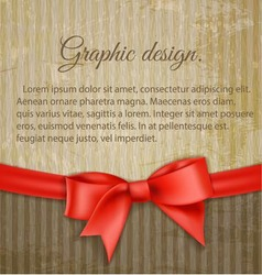 Vintage grungy background with red bow vector