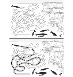 Whales maze vector image