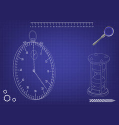3d model of a stopwatch and an hourglass vector image