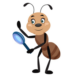 ant with magnifying tool on white background vector image