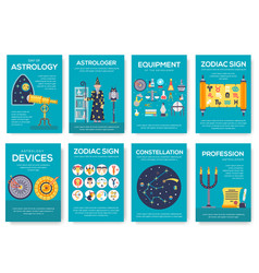Astrology house brochure cards set horoscope vector