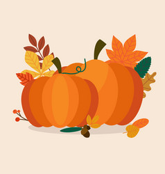 Autumn pumpkins and leaves flat design modern vector