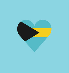 bahamas flag icon in a heart shape in flat design vector image