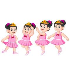 ballerina is dancing with beautiful dress vector image