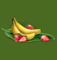 Banana and strawberry vector