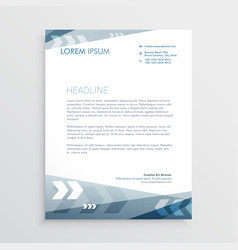 Blue letterhead design with geometric lines for vector
