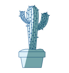 blue shading silhouette with cactus with two vector image