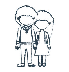 Blurred blue contour faceless curly couple woman vector