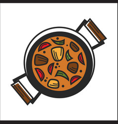 Bowl with orange soup vector