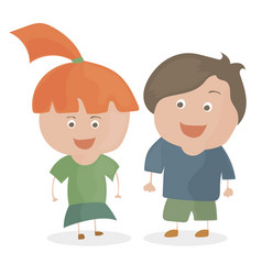 boy and girl funny cartoon and teen vector image vector image