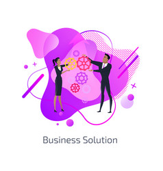 business solution man and woman teamwork gears vector image