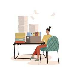 Busy secretary sitting at desk with stack of vector
