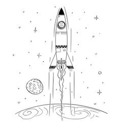 Cartoon space rocket flying high in space vector