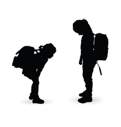 Children silhouette with school bag vector