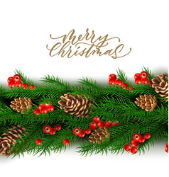 Christmas border with berry pine cone vector