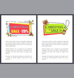 christmas sale posters set with labels decorated vector image